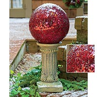 Crackle Glass Red Gazing Ball and Pedestal