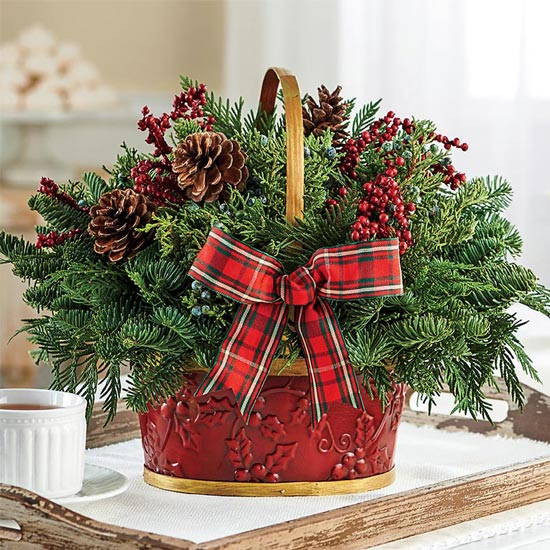 Fresh Evergreen Basket Centerpiece