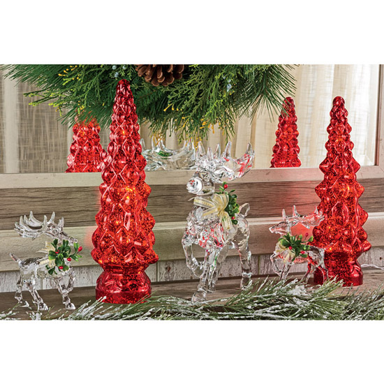 Red Speckled Tree Lamps: Set of 2